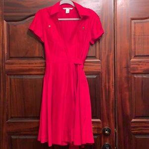 Diane Von Furstenberg pink wrap dress with pockets